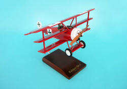 Red Baron - Fokker DR. 1 Triplane - 1/24 Scale Mahogany Model - F0224F1W