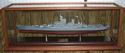 1/350 scale Missouri BB-63 battleship in a ship display case.