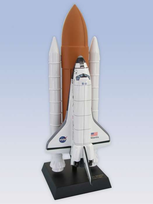 NASA - Space Shuttle Atlantis with Full Stack - 1/100 Scale Mahogany Model