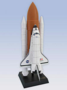 NASA Space Shuttle Atlantis Full Stack - 1/100 Scale Mahogany Model